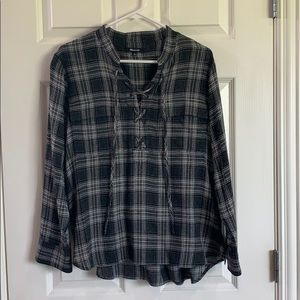 Made well tie front plaid blouse - EUC